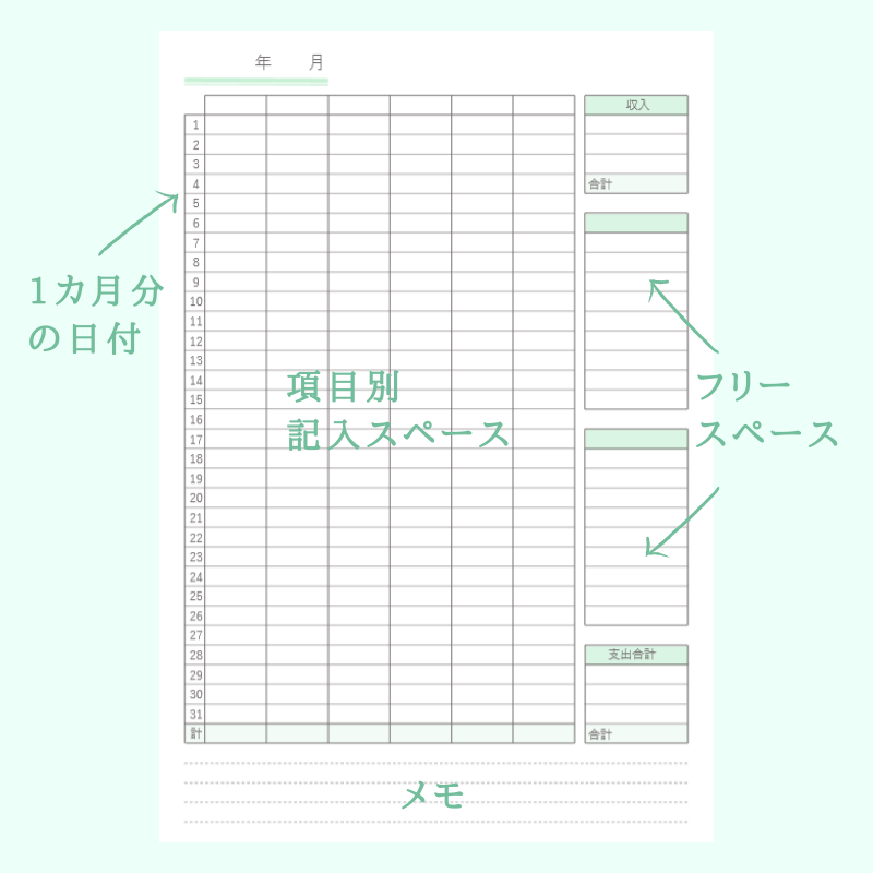 家計 簿 フォーマット